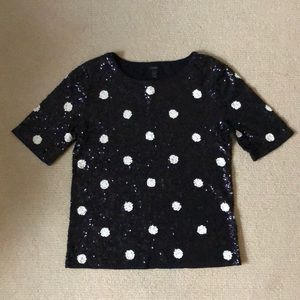 J. Crew sequin polka dot top